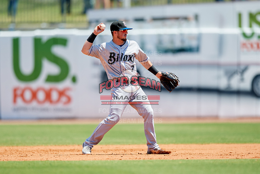 Biloxi Shuckers second baseman Blake Allemand (7) throws to first base during a game against the Montgomery Biscuits on May 8, 2018 at Montgomery Riverwalk Stadium in Montgomery, Alabama.  Montgomery defeated Biloxi 10-5.  (Mike Janes/Four Seam Images)
