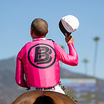 November 2, 2019 : Belvoir Bay, ridden by Javier Castellano, wins the Breeders' Cup Turf Sprint on Breeders' Cup Championship Saturday at Santa Anita Park in Arcadia, California on November 2, 2019. Alex Evers/Eclipse Sportswire/Breeders' Cup/CSM