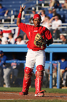Batavia Muckdogs catcher Audry Perez (4) during a game vs. the Auburn Doubledays at Dwyer Stadium in Batavia, New York July 2, 2010.   Batavia defeated Auburn 6-3.  Photo By Mike Janes/Four Seam Images