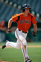 Bowie Baysox T.J. Nichting (49) runs to first base during an Eastern League game against the Binghamton Rumble Ponies on August 21, 2019 at Prince George's Stadium in Bowie, Maryland.  Bowie defeated Binghamton 7-6 in ten innings.  (Mike Janes/Four Seam Images)