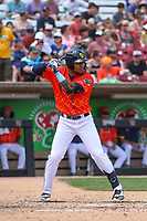 Wisconsin Timber Rattlers designated hitter LG Castillo (27) at bat during a game against the Quad Cities River Bandits on July 11, 2021 at Neuroscience Group Field at Fox Cities Stadium in Grand Chute, Wisconsin.  (Brad Krause/Four Seam Images)