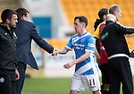 St Johnstone v Partick Thistle…29.10.16..  McDiarmid Park   SPFL<br />Danny Swanson is subbed by Tommy Wright<br />Picture by Graeme Hart.<br />Copyright Perthshire Picture Agency<br />Tel: 01738 623350  Mobile: 07990 594431
