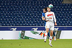 v.li.: Havard Nordtveit (Hoffenheim, 6), Sasa Kalajdzic (VfB, 9), Kopfball, Kopfballduell, Spielszene, Zweikampf in der Luft, Aktion, Action, 21.11.2020, Sinsheim  (Deutschland), Fussball, Bundesliga, TSG 1899 Hoffenheim - VfB Stuttgart, DFB/DFL REGULATIONS PROHIBIT ANY USE OF PHOTOGRAPHS AS IMAGE SEQUENCES AND/OR QUASI-VIDEO. <br /> <br /> Foto © PIX-Sportfotos *** Foto ist honorarpflichtig! *** Auf Anfrage in hoeherer Qualitaet/Aufloesung. Belegexemplar erbeten. Veroeffentlichung ausschliesslich fuer journalistisch-publizistische Zwecke. For editorial use only.