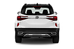Straight rear view of 2021 KIA Seltos SX 5 Door SUV Rear View  stock images