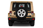 Straight rear view of 2016 JEEP Wrangler Sahara 5 Door SUV Rear View  stock images