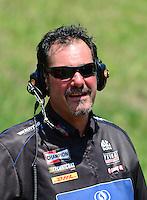 May 19, 2012; Topeka, KS, USA: NHRA crew member for top fuel dragster driver David Grubnic during qualifying for the Summer Nationals at Heartland Park Topeka. Mandatory Credit: Mark J. Rebilas-