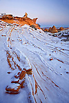 Snow on rock formations in Coyote Buttes