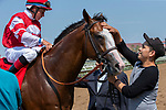 DEL MAR, CA  AUGUST 11: #1 Instagrand, ridden by Drayden Van Dyke, return to the connections after winning the Best Pal Stakes (Grade ll) on August 11, 2018, at Del Mar Thoroughbred Club in Del Mar, CA. (Photo by Casey Phillips/Eclipse Sportswire/Getty Images