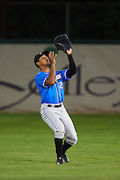Hudson Valley Renegades outfielder Garrett Whitley (20) catches a fly ball during a game against the Vermont Lake Monsters on September 3, 2015 at Centennial Field in Burlington, Vermont.  Vermont defeated Hudson Valley 4-1.  (Mike Janes/Four Seam Images)