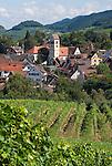 Germany, Baden-Wuerttemberg, Markgraefler Land, wine village Britzingen with St. John church