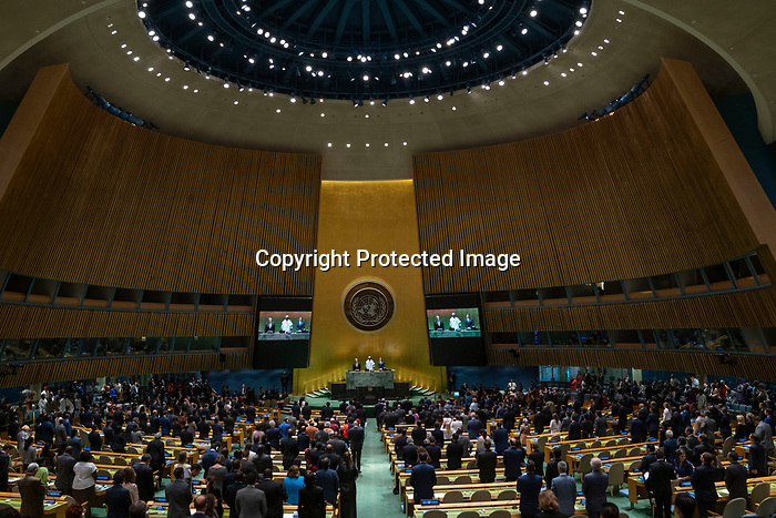General Assembly Seventy-fourth session, 1st plenary meeting<br /> <br /> Opening of the session by the President of the General Assembly<br /> <br /> Minute of silent prayer or meditation<br /> <br /> Appointment of the members of the Credentials Committee<br /> <br /> Organization of work of the seventy-fourth regular session of the General Assembly: letter from the Chair of the Committee on Conferences<br /> A/74/340<br /> <br /> The General Assembly will also take note of the letter from the Secretary-General concerning three Member States in arrears in the payment of financial contributions to the United Nations within the terms of Article 19 of the Charter.<br /> A/74/327