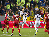 CARSON, CA - March 10,2012: LA Galaxy defender Tommy Meyer (21) during the LA Galaxy vs Real Salt Lake match at the Home Depot Center in Carson, California. Final score LA Galaxy 1, Real Salt Lake 3.