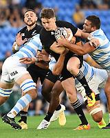 12th September 2021; Cbus Super Stadium, Robina, Queensland, Australia; Rugby International series, New Zealand versus Argentina:  Beauden Barrett is held up by Argetina