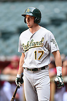 Oakland Athletics outfielder Justin Higley (17) during an Instructional League game against the Arizona Diamondbacks on October 10, 2014 at Chase Field in Phoenix, Arizona.  (Mike Janes/Four Seam Images)