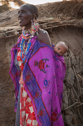 Beadworking, done by women, has a long history among the Maasai, who articulate their identity and position in society through body ornaments and body painting.  Maasai robes, or lubegas, regardless of gender are very colorful. The Masai believe that brighter colors are a deterrent to wild animals.