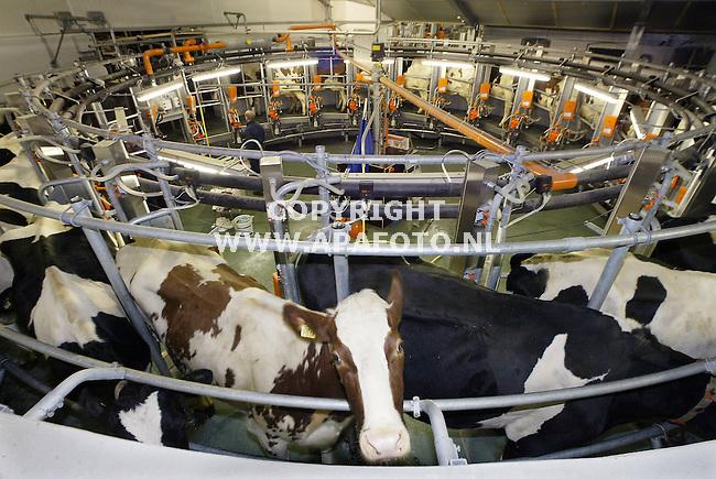 Buurtschap Zwolle in Gemeente Eibergen, 200104<br /> Melkveehouder Aloys Schurink heeft een nieuwe melkcaroussel.<br /> Schurink heeft een maatschap met zijn vrouw Carla. Het bedrijf bestaat uit 100 melkkoeien en ongeveer 75 stuks jongvee en is aan het uitbreiden. Deze bestaat uit de bouw van een nieuwe stal en de aanschaf van een caroussel, type FAB. Deze heeft plaats voor 24 koeien en is mede ontwikkeld door Gastoine Melotte Technologie. Elke koe wordt aangesloten aan een Integrated Milking Point (IMP). Voordeel van de IMP is dat deze als een geheel worden geinstalleerd, alle componten zijn voorgemonteerd. Voorheen werden losse onderdelen samengevoegd.<br /> <br /> <br /> Foto: Sjef Prins - APA Foto