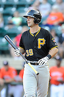 Catcher Chris Harvey (39) of the Bristol Pirates bats in a game against the Greeneville Astros on Friday, July 25, 2014, at Pioneer Park in Greeneville, Tennessee. Greeneville won, 9-4. (Tom Priddy/Four Seam Images)