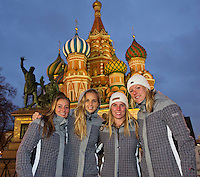Moskou, Russia, Februari 3, 2016,  Fed Cup Russia-Netherlands,  Dutch team on the Red Square, ltr: Cindy Burger, Arantxa Rus, Richel Hogenkamp, Kiki Bertens and <br /> Photo: Tennisimages/Henk Koster