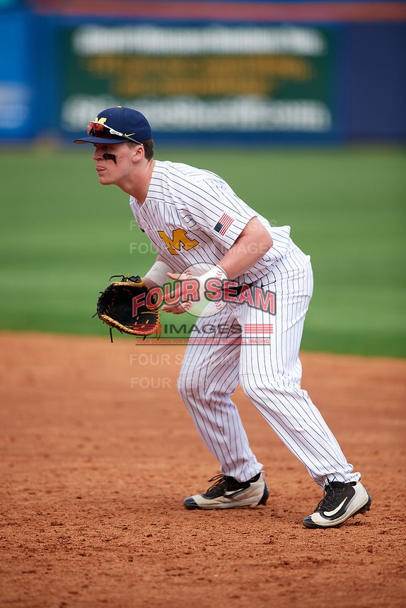 Michigan Wolverines first baseman Jesse Franklin (7) during a game against Army West Point on February 18, 2018 at Tradition Field in St. Lucie, Florida.  Michigan defeated Army 7-3.  (Mike Janes/Four Seam Images)