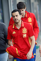 Pedro Rodriguez (l) and Mikel San Jose during Spanish national football team stage. March 22,2016. (ALTERPHOTOS/Acero)