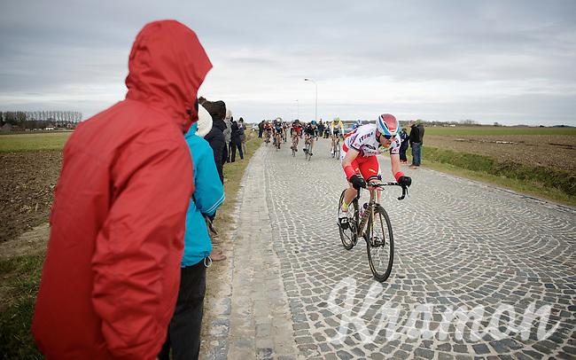 Alexander Kristoff (NOR/Katusha) over the last cobbled section of the day: De Lange Munte<br /> <br /> Omloop Het Nieuwsblad 2015