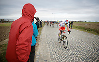 Alexander Kristoff (NOR/Katusha) over the last cobbled section of the day: De Lange Munte<br /> <br /> Omloop Het Nieuwsblad 2015