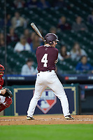 Rowdey Jordan (4) of the Mississippi State Bulldogs at bat against the Louisiana Ragin' Cajuns in game three of the 2018 Shriners Hospitals for Children College Classic at Minute Maid Park on March 2, 2018 in Houston, Texas.  The Bulldogs defeated the Ragin' Cajuns 3-1.   (Brian Westerholt/Four Seam Images)