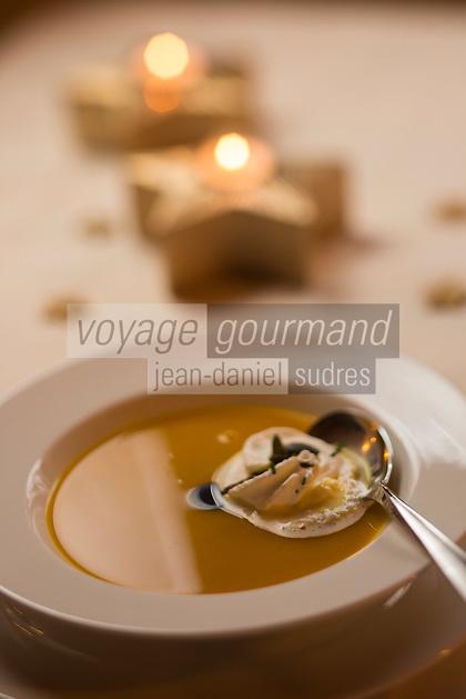 Europe, Autriche, Tyrol (Land), Tyrol du Nord, Absam: Soupe de potiron ,   recette Gasthof Ebner  // Europe, Austria, Tyrol (state), Absam: Pumpkin Soup, recipe Gasthof Ebner