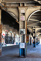 The platform of the abandoned railway station on 16th St. in Oakland, California, that was built built in 1912 for the Southern Pacific Railroad and later used by Amtrak before closing in 1994.