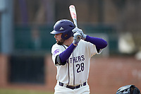 Sam Zayicek (28) of the High Point Panthers at bat against the Bryant Bulldogs at Williard Stadium on February 21, 2021 in  Winston-Salem, North Carolina. The Panthers defeated the Bulldogs 3-2. (Brian Westerholt/Four Seam Images)