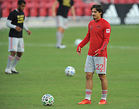 WASHINGTON, DC - SEPTEMBER 12: Florian Valot #22 of New York Red Bulls warming up during a game between New York Red Bulls and D.C. United at Audi Field on September 12, 2020 in Washington, DC.