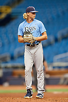 Shane Baz (20) gets ready to deliver a pitch during the Tampa Bay Rays Instructional League Intrasquad World Series game on October 3, 2018 at the Tropicana Field in St. Petersburg, Florida.  (Mike Janes/Four Seam Images)