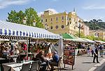 Frankreich, Provence-Alpes-Côte d'Azur, Nizza: Restaurants auf dem Cours Saleya | France, Provence-Alpes-Côte d'Azur, Nice: restaurants at Cours Saleya