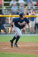 Austin Riley (13) of the Danville Braves starts down the first base line against the Burlington Royals at Burlington Athletic Park on August 13, 2015 in Burlington, North Carolina.  The Braves defeated the Royals 6-3. (Brian Westerholt/Four Seam Images)