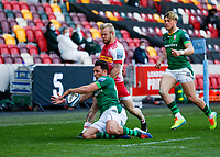 24th April 2021; Brentford Community Stadium, London, England; Gallagher Premiership Rugby, London Irish versus Harlequins; Nick Phipps of London Irish catches the ball from Matt Symons of Harlequins