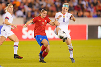 HOUSTON, TX - FEBRUARY 03: Maria Paula Salas #17 of Costa Rica battles with Julie Ertz #8 of the United States during a game between Costa Rica and USWNT at BBVA Stadium on February 03, 2020 in Houston, Texas.