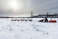 Mitch Seavey runs on the trail just prior to the checkpoint at Iditarod on Thursday, March 8th during the 2018 Iditarod Sled Dog Race -- Alaska<br /> <br /> Photo by Jeff Schultz/SchultzPhoto.com  (C) 2018  ALL RIGHTS RESERVED