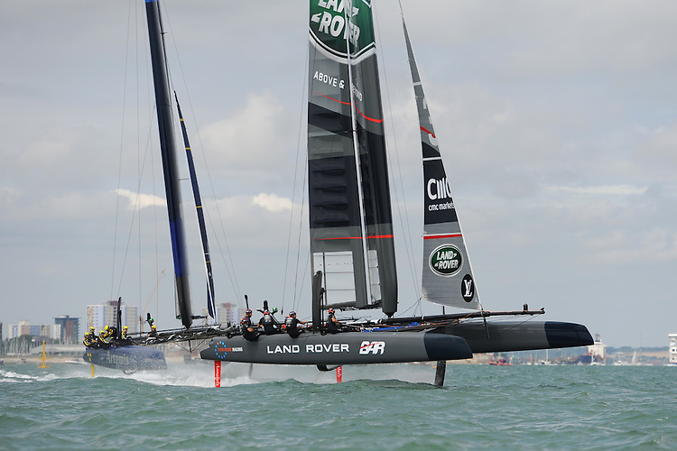 Land Rover BAR foils during day two of the Louis Vuitton America's Cup World Series racing, Portsmouth, United Kingdom. (Photo by Rob Munro/Stewart Communications)