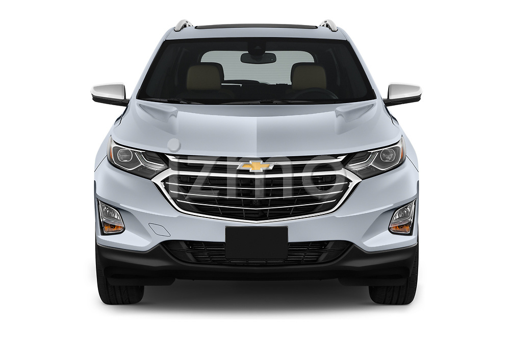Car photography straight front view of a 2018 Chevrolet Equinox Premier 5 Door SUV Front View