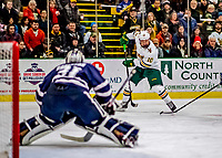 9 February 2019: University of Vermont Catamount Forward Vlad Dzhioshvili, a Sophomore from Moscow, Russia, in second period action against the University of New Hampshire Wildcats at Gutterson Fieldhouse in Burlington, Vermont. The Catamounts defeated the Wildcats 4-1 to split their 2-game Hockey East weekend series. Mandatory Credit: Ed Wolfstein Photo *** RAW (NEF) Image File Available ***