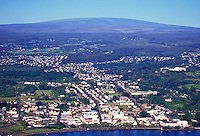 Aerial view of Hilo town, Big Island of Hawaii