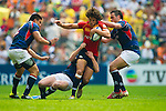 Hong Kong play Spain on Day 2 of the 2011 Cathay Pacific / Credit Suisse Hong Kong Rugby Sevens, Hong Kong Stadium. Photo by Victor Fraile / The Power of Sport Images
