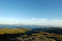 The Strait of Gibraltar and the African coast of Morocco, seen from Mirador del Estrecho, a viewpoint on the highway N-340, in Cadiz, Andalusia, Spain.