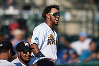 Alexander Ovalles (26) of the Charleston RiverDogs reacts to a play during the game against the Down East Wood Ducks at Joseph P. Riley, Jr. Park on September 26, 2021 in Charleston, South Carolina. (Brian Westerholt/Four Seam Images)