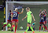 Boyds, MD - Wednesday Sept. 07, 2016: Cheyna Williams celebrates scoring, Estefania Banini during a regular season National Women's Soccer League (NWSL) match between the Washington Spirit and the Seattle Reign FC at Maureen Hendricks Field, Maryland SoccerPlex.