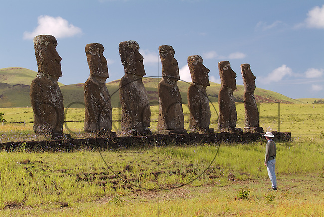 Ahu Akivi is an ahu with seven moai on Rapa Nui. The ahu and its moai were restored in 1960 by the American archaeologist William Mulloy and his Chilean colleague, Gonzalo Figueroa García-Huidobro. Unlike other Rapa Nui ceremonial centers with ahu, the Akivi-Vaiteka Complex is not located on the coast.