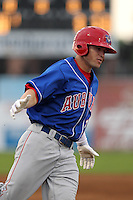 Auburn Doubledays outfielder Brandon Miller #25 rounds the bases after hitting his first career home run during a game against the Batavia Muckdogs at Dwyer Stadium on June 18, 2012 in Batavia, New York.  Auburn defeated Batavia 6-5.  (Mike Janes/Four Seam Images)