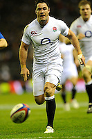 Brad Barritt of England chases down loose ball during the RBS 6 Nations match between England and France at Twickenham on Saturday 23rd February 2013 (Photo by Rob Munro)