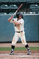 Camden Duzenack (1) of the Visalia Rawhide bats against the Modesto Nuts at Recreation Ballpark on June 10, 2019 in Visalia, California. (Larry Goren/Four Seam Images)