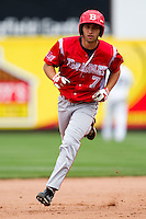 Rob Elliott (7) of the Bradley Braves rounds second base after hitting a home run during a game against the Missouri State Bears on May 13, 2011 at Hammons Field in Springfield, Missouri.  Photo By David Welker/Four Seam Images